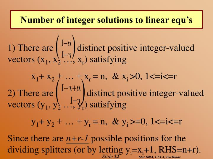 Number of integer solutions to linear equ's
