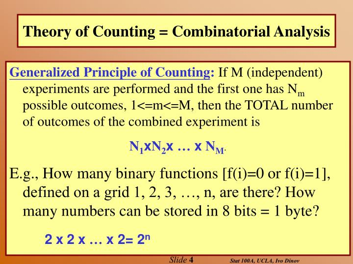 Theory of Counting = Combinatorial Analysis