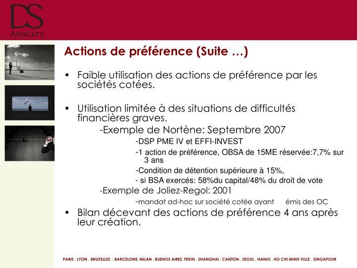 Actions de préférence (Suite …)