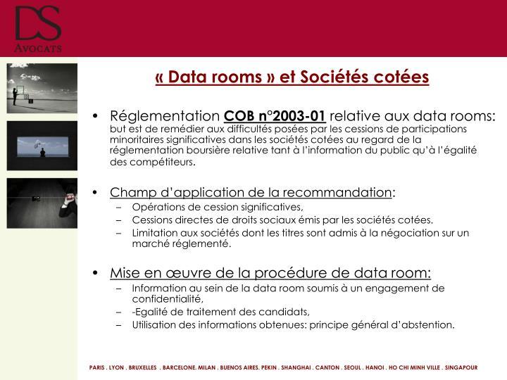 «Data rooms» et Sociétés cotées