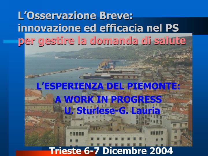 L'Osservazione Breve: innovazione ed efficacia nel PS