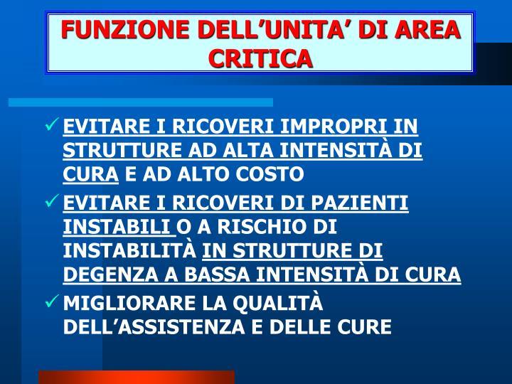 FUNZIONE DELL'UNITA' DI AREA CRITICA