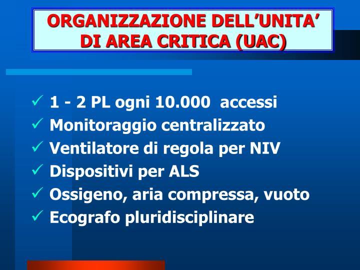 ORGANIZZAZIONE DELL'UNITA' DI AREA CRITICA (UAC)