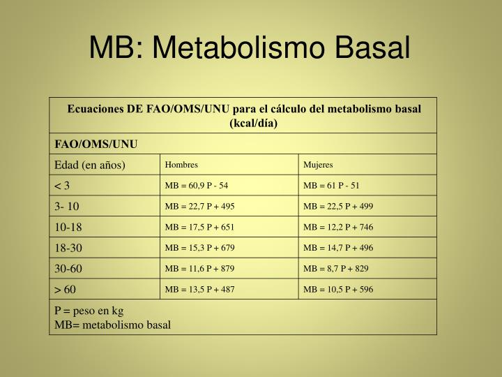 MB: Metabolismo Basal