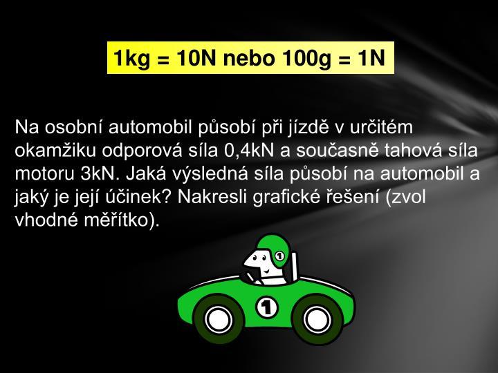 1kg = 10N nebo 100g = 1N