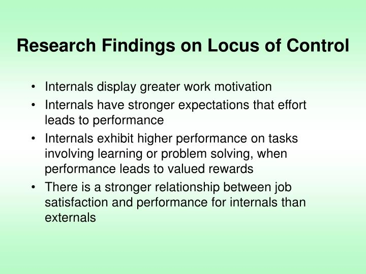 Research Findings on Locus of Control