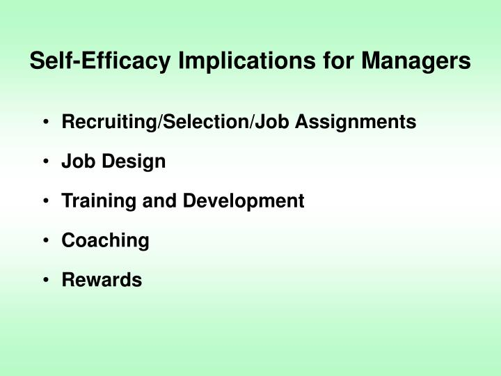 Self-Efficacy Implications for Managers