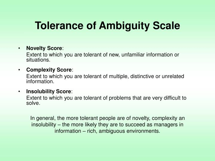 Tolerance of Ambiguity Scale