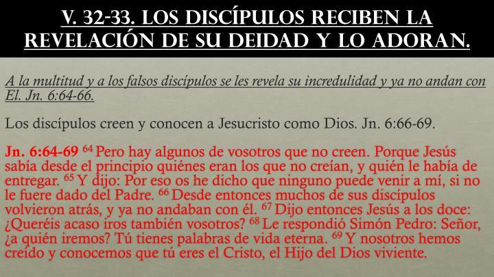 v. 32-33. Los discípulos reciben la revelación de Su deidad y lo adoran.