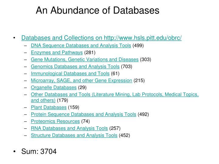 An Abundance of Databases