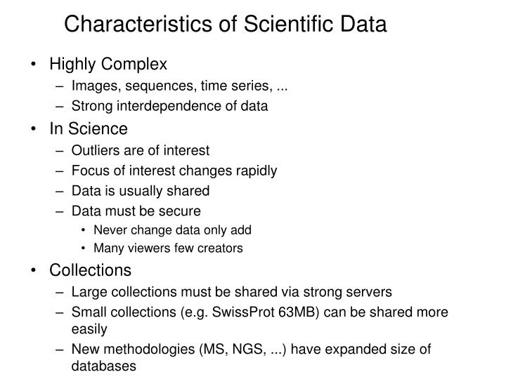 Characteristics of Scientific Data