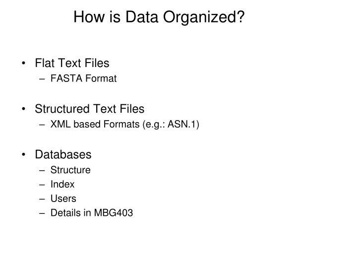 How is Data Organized?