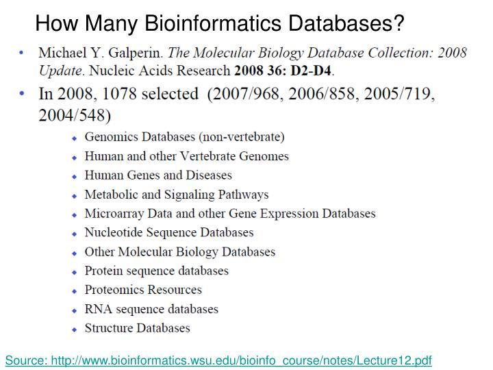 How Many Bioinformatics Databases?