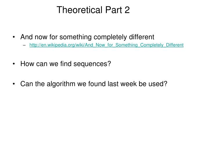 Theoretical Part 2