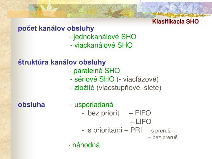Klasifikácia SHO