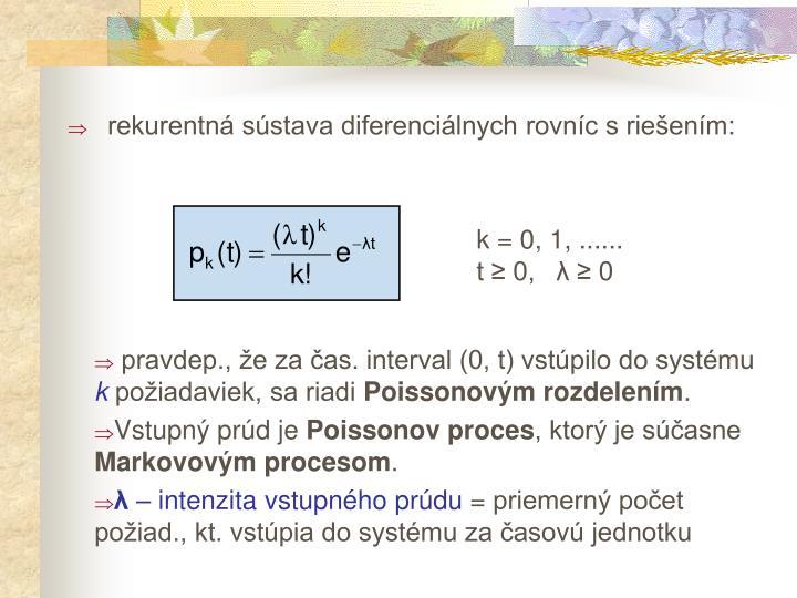 rekurentná sústava diferenciálnych rovníc s riešením: