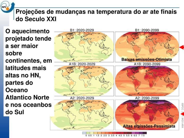 Projeções de mudanças na temperatura do ar ate finais do Seculo XXI