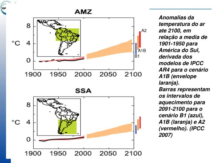 Anomalias da temperatura do ar ate 2100, em relação a media de 1901-1950 para América do Sul, derivada dos modelos de IPCC  AR4 para o cenário A1B (envelope laranja).
