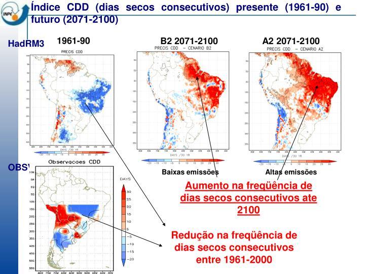 Índice CDD (dias secos consecutivos) presente (1961-90) e futuro (2071-2100)