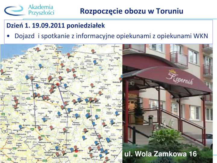 Rozpoczęcie obozu w Toruniu