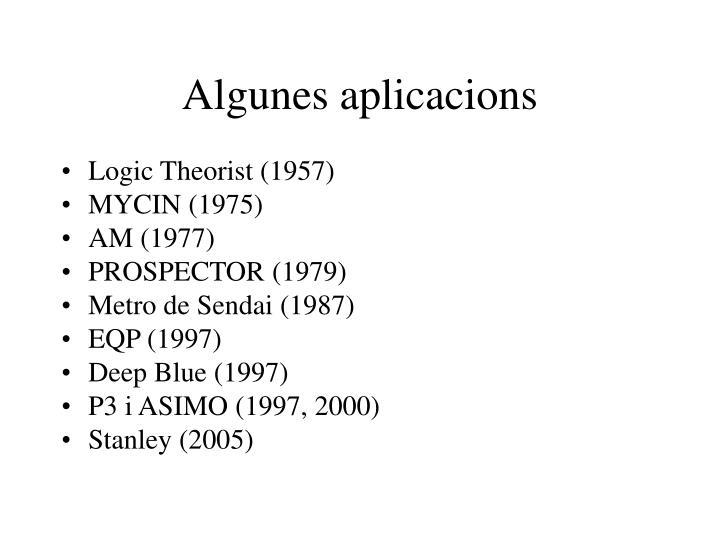 Algunes aplicacions