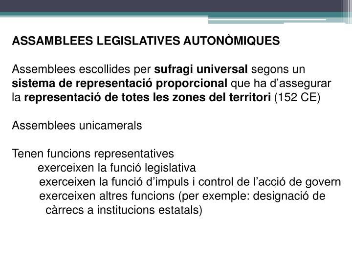 ASSAMBLEES LEGISLATIVES AUTONÒMIQUES