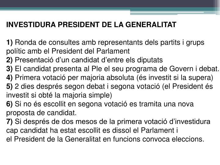 INVESTIDURA PRESIDENT DE LA GENERALITAT