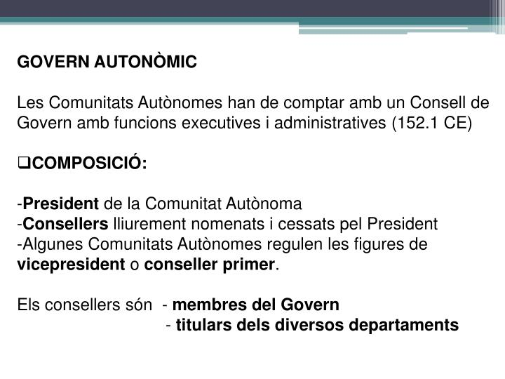 GOVERN AUTONÒMIC