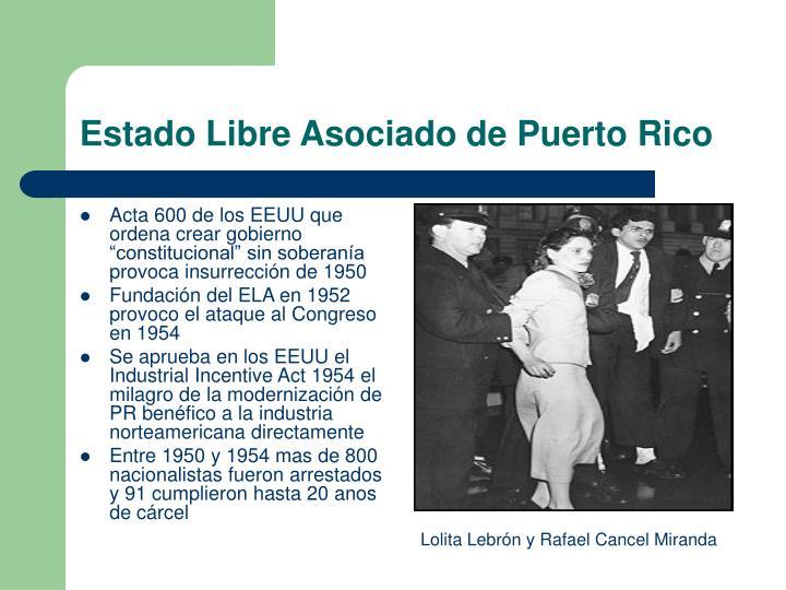 """Acta 600 de los EEUU que ordena crear gobierno """"constitucional"""" sin soberanía provoca insurrección de 1950"""