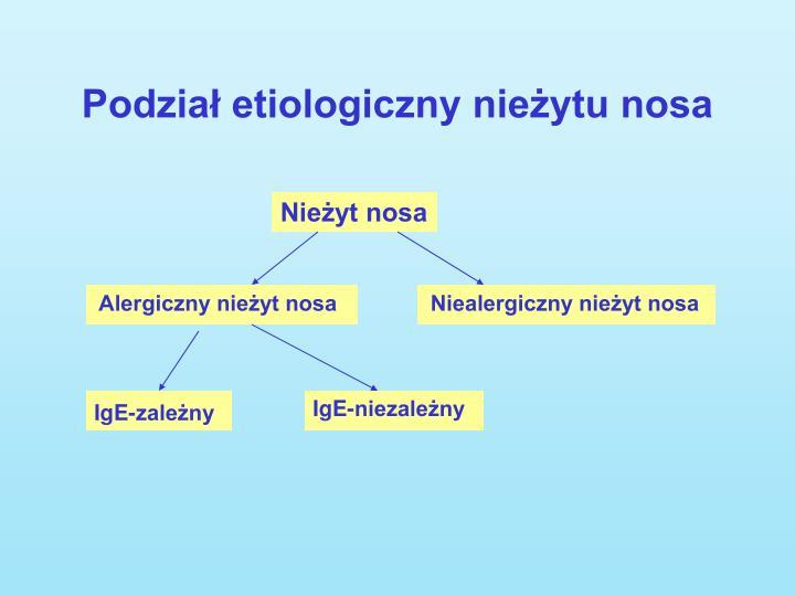 Podział etiologiczny nieżytu nosa