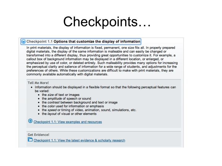 Checkpoints…