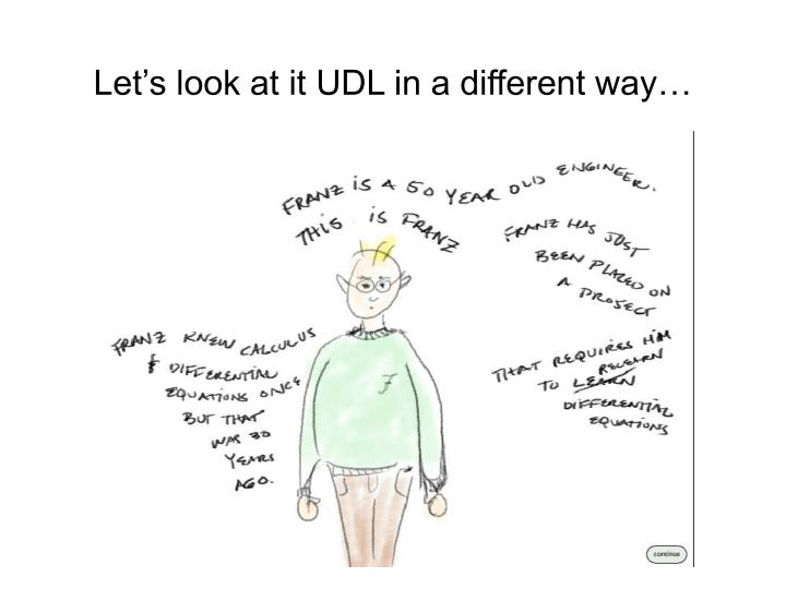 Let's look at it UDL in a different way…