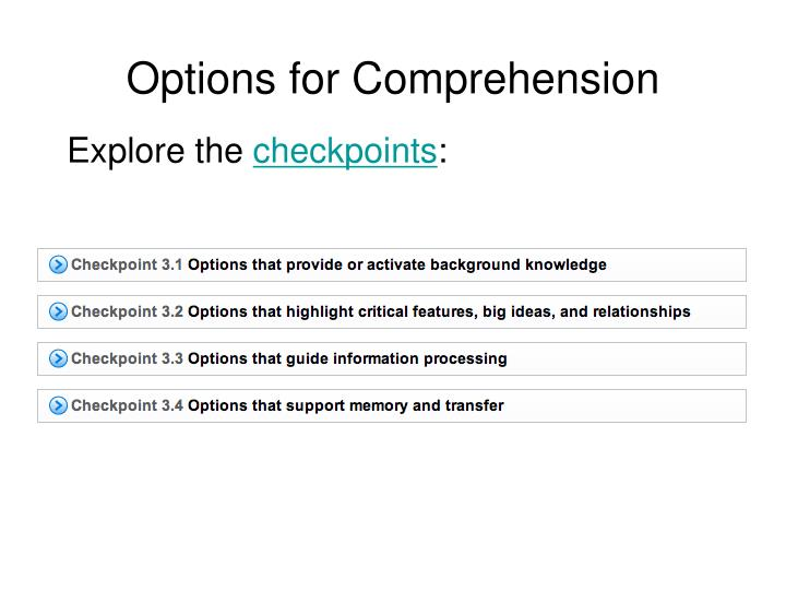 Options for Comprehension