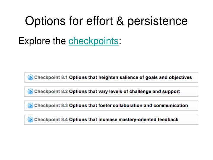 Options for effort & persistence