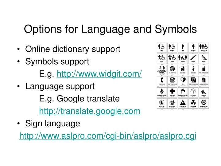 Options for Language and Symbols