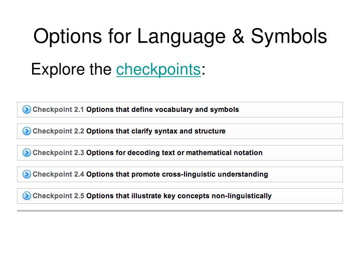 Options for Language & Symbols