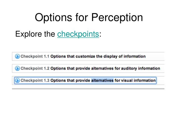 Options for Perception