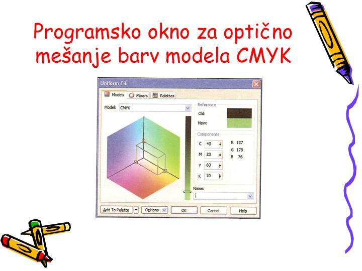 Programsko okno za optično mešanje barv modela CMYK