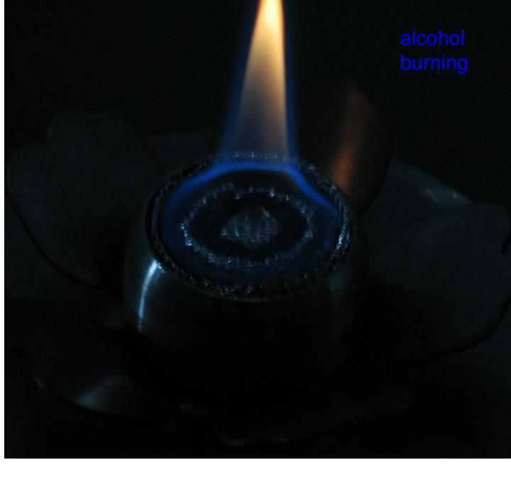 alcohol burning