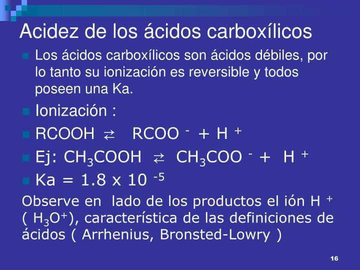 Acidez de los ácidos carboxílicos