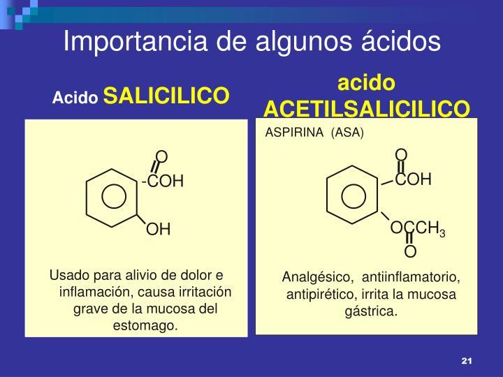 Importancia de algunos ácidos