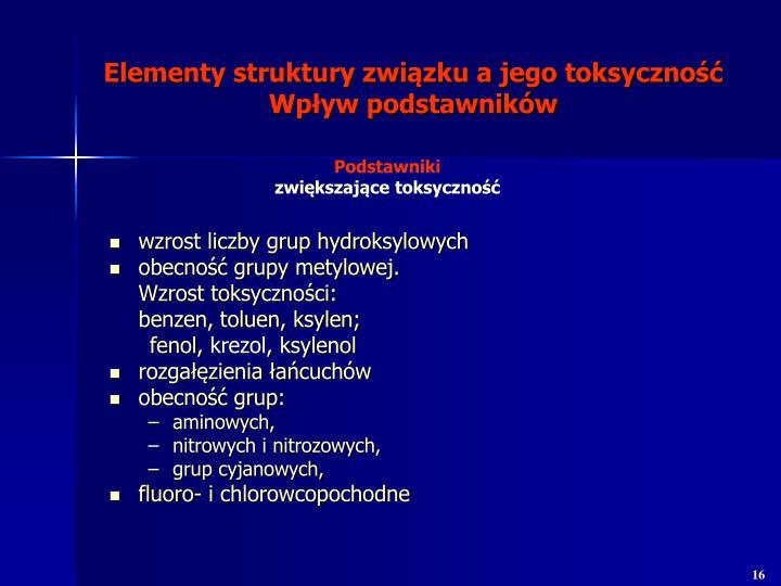 wzrost liczby grup hydroksylowych