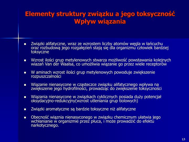 Elementy struktury związku a jego toksyczność