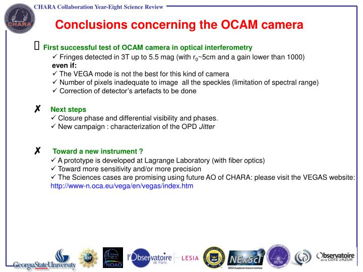 Conclusions concerning the OCAM camera