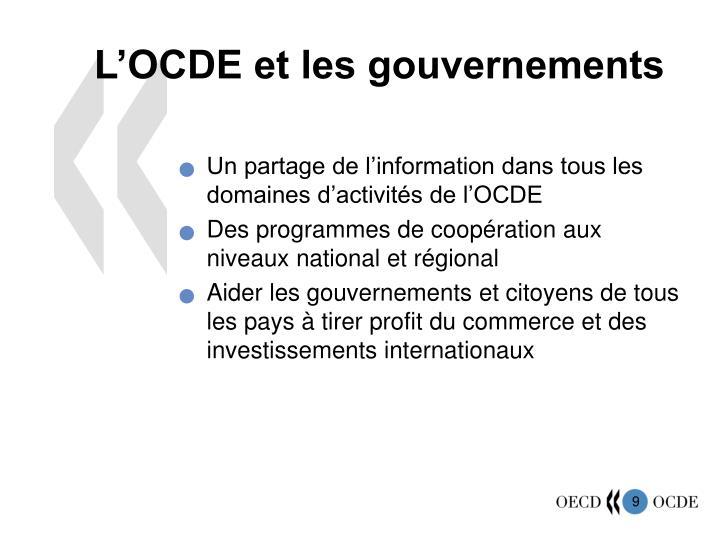 L'OCDE et les gouvernements