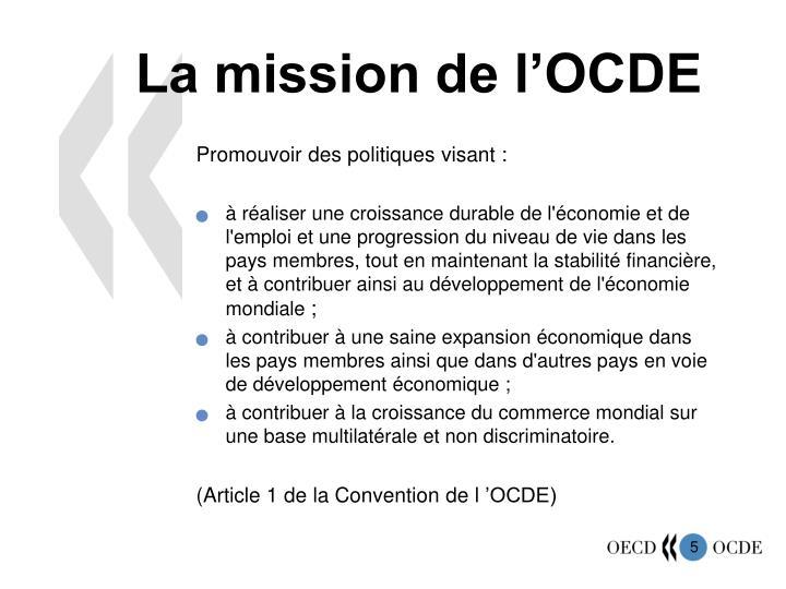 La mission de l'OCDE