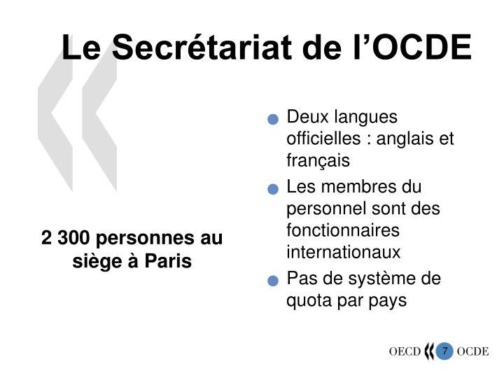 Le Secrétariat de l'OCDE