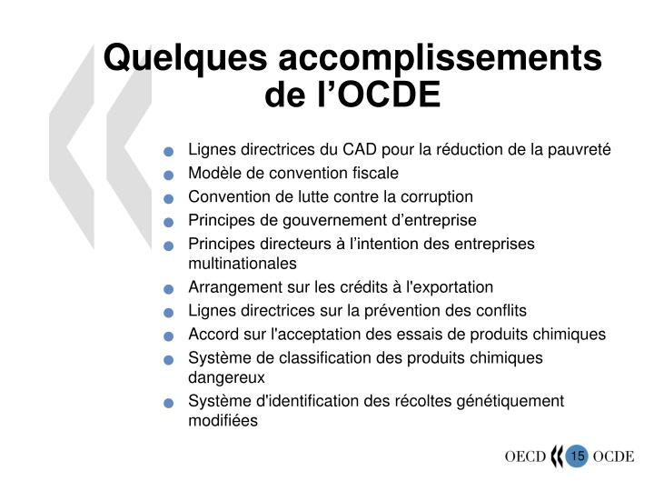 Quelques accomplissements