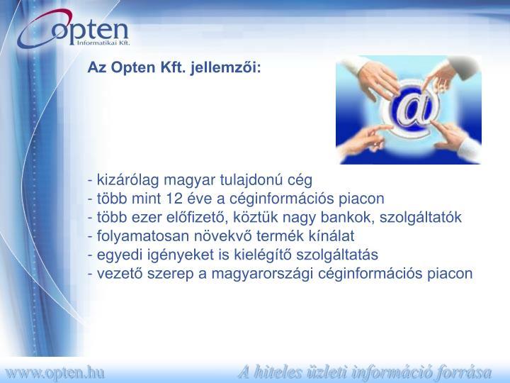 Az Opten Kft. jellemzői: