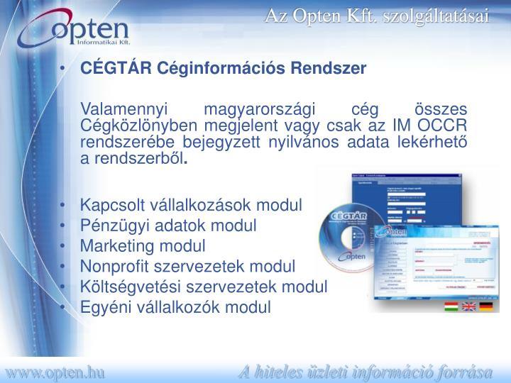 Az Opten Kft. szolgáltatásai